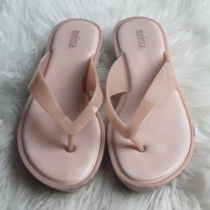 Melissa sz 7 pink flip flops